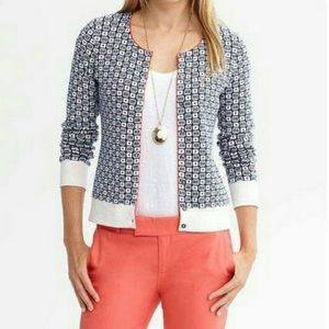 Banana Republic Navy Jacquard Sweater Cardigan